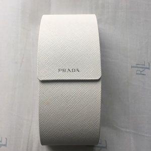 White Prada eyeglass case